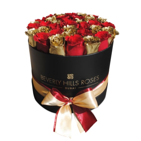 Red & Gold roses in 'Hollywood Star' – Medium black box