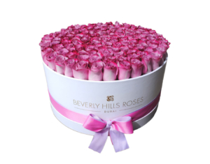 Purple and Pink Flowers in Candy rose Box