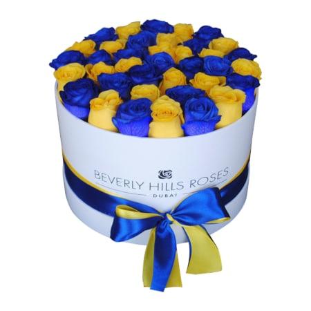 Blue & Yellow roses in 'Sunny Lagoon' – Medium white box