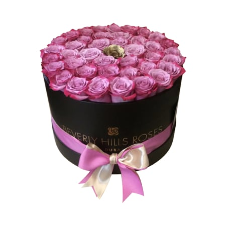 Pink roses with a Gold rose in 'Gold Candy' – Medium black box
