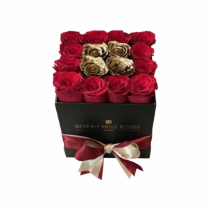 Red and Gold roses in 'Hollywood Gold' – Square box