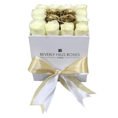 White & Gold roses in 'Gold Star' – Square white box