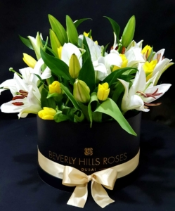 White Lilies & Tulips bouquet in a box