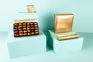 Mixed stuffed dates in Golden Letters Box