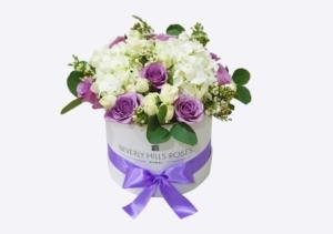 Purple Flowers & Hydrangea in round box