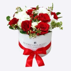 Red rose & white hydrangea Bouquet