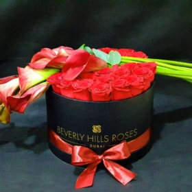 Red roses & Calla Lilies in 'Imperial'