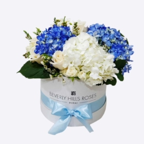 White roses & blue hydrangeas in 'Sapphire'