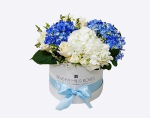 White roses & blue hydrangeas in 'Sapphire'