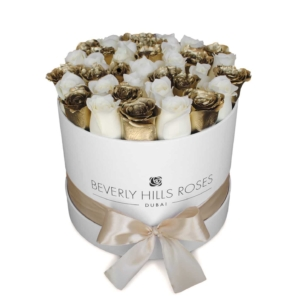White & Gold roses in Round Box