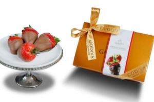Strawberries Dipped in Chocolate on Tray