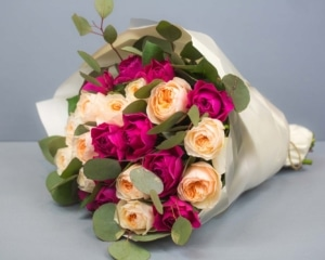 Pink and peach Roses hand bouquet