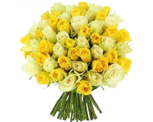 Yellow and White Roses hand bouquet