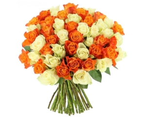 Orange and White Roses hand bouquet