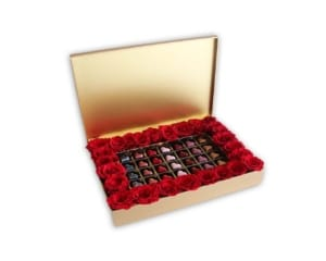 Chocolate Pralines & Red Roses in a gold box