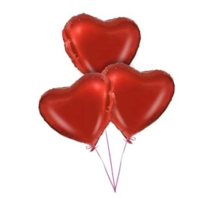 3 Red Heart Balloons Bouquet