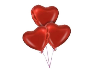 3 Red Heart valentines Balloons Bouquet