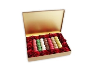 Macarons & Red Roses in a gold box