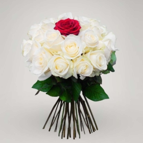 White roses with a Red rose in 'Innocent Love'