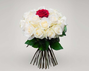 Red and White Roses hand bouquet