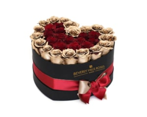 Gold & Red roses in valentines Heart Box