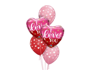 I Love You va lentines Balloon Bouquet