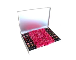 chocolate praline & Roses in a white box