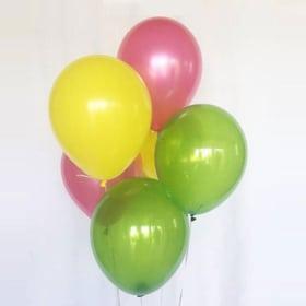 6 Fuschia, yellow, green Balloon mix