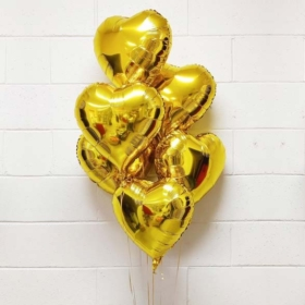 6 Gold Hearts Balloon bouquet