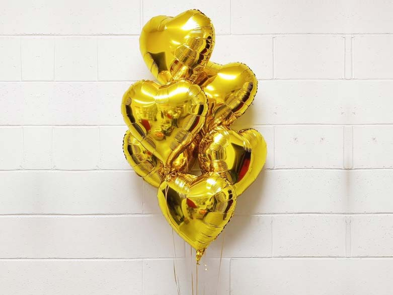 6 Gold Hearts Balloon bouquet
