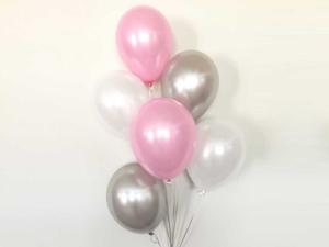 6 pink silver white Balloon Bouquet
