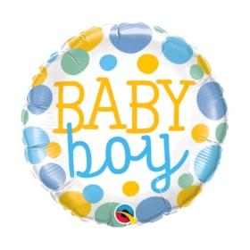 Baby Boy Dots round Balloon