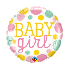 Baby Girl Dots round Balloon