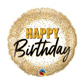 Birthday Gold Glitter Dots round balloon