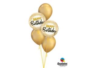 Gold Birthday balloon bouquet