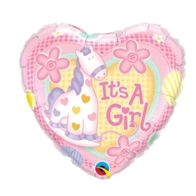 It's A Girl Soft Pony balloon