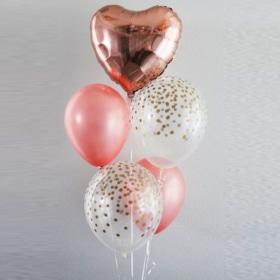 Rose Gold foil heart Balloon mix