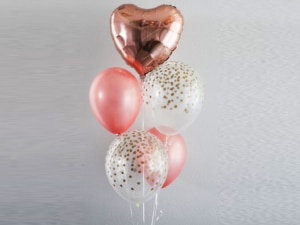 Rose Gold foil heart Balloon Bouquet