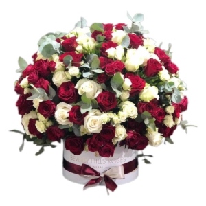 Red and White roses in Dome shape