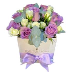 White & Purple roses in Square Box