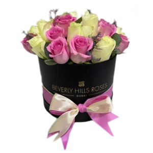 Baby Pink flowers & White roses in Round Box