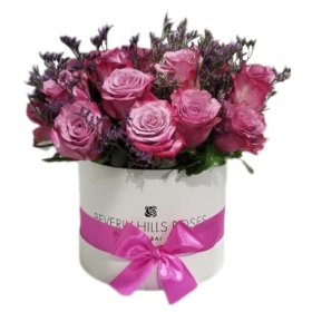 Purple flowers-Pink roses in candy Round Box
