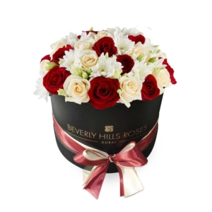 Red flowers & Peach flowers in Round Box