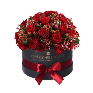 Red flowers in Round Box