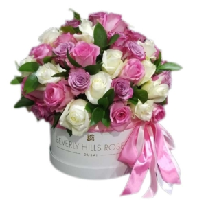 White, Pink & Purple roses in 'Sweet Mix' in hat box
